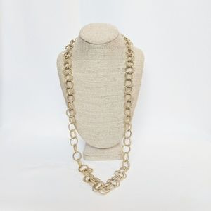 Betsey Johnson Long Gold Double Link Necklace